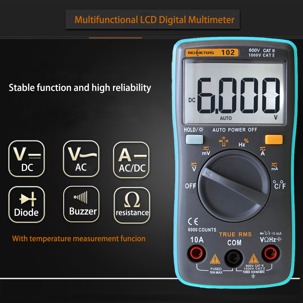 RICHMETERS RM101 RM102 LCD Digital Multimeter DC AC Spannung Strom Meter Widerstand Diode Kapazität Tester Voltmeter Ohm