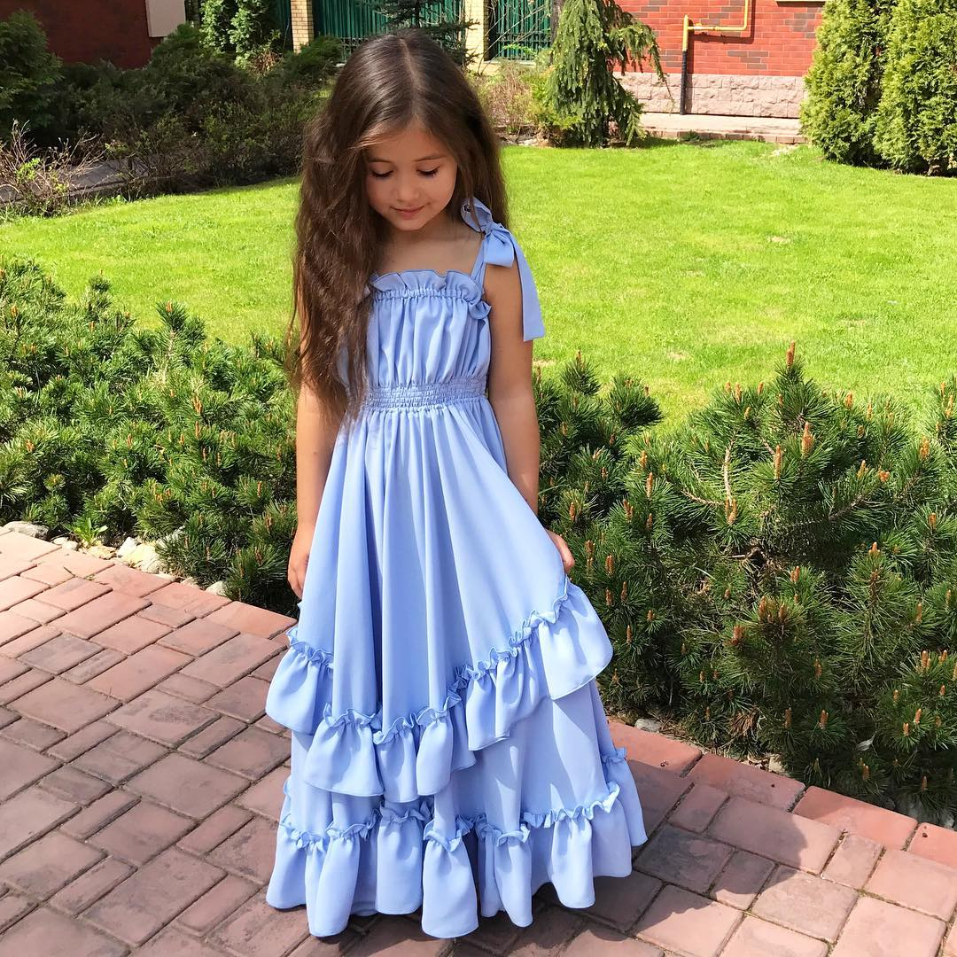 Flower Girl Bow Princess Dress Kid Party Pageant Wedding Bridesmaid Tutu Dresses Bohemian Sleeveless Blue 3-10Y стоимость