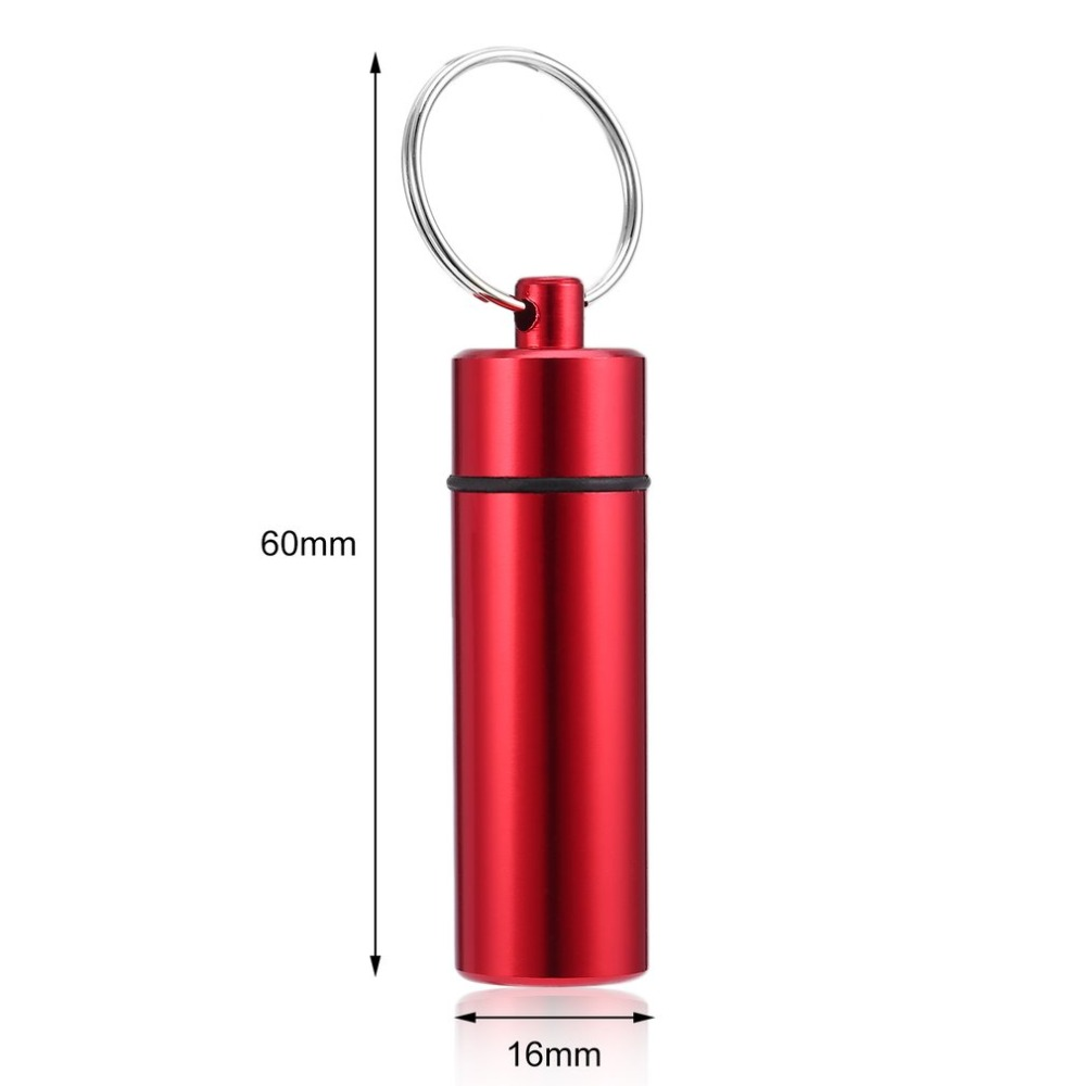 Купить с кэшбэком Mini Waterproof Pill Shape Bottle Aluminum Alloy Portable Pill Box Case Cache Drug Holder Container With Keychain