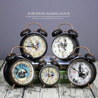 European Retro Classical Alarm Clocks Silent Desk Clock Creative Metal Table Clock Decorative Crafts Gifts Kids Home Decoration