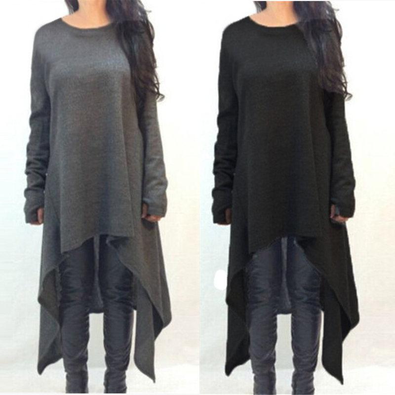 ZANZEA Women Sweater Dress 2018 Autumn Long Sleeve Asymmetric Hem Casual Loose Knitted Midi Vestidos Women Clothes Plus Size