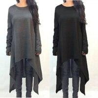 New Autumn Winter Women Dress Long Sleeve Knitted Sweater Dresses Fashion Irregular Hem Maxi Dress Plus