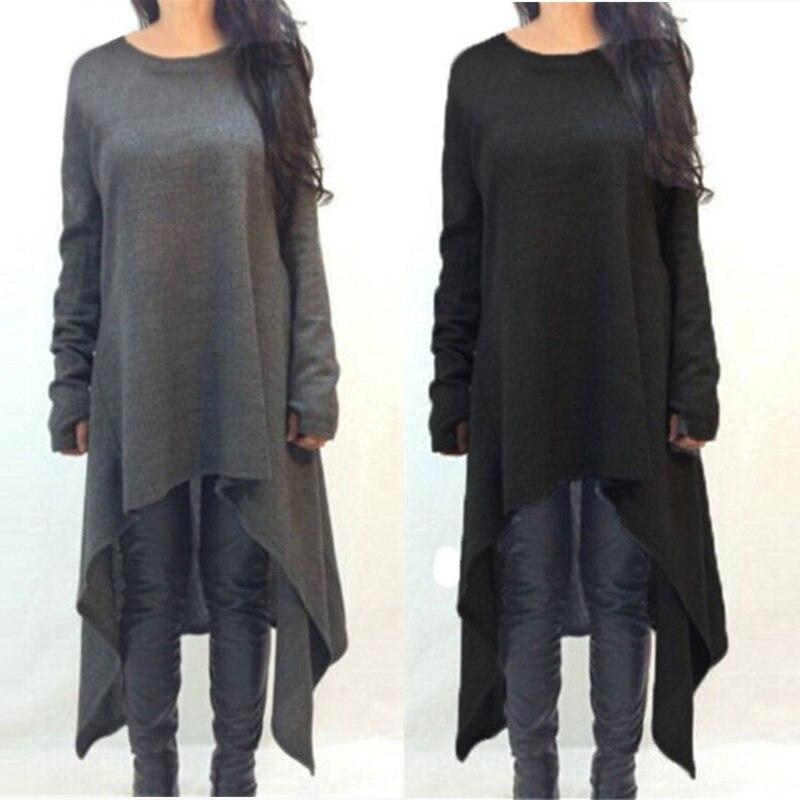 ZANZEA Plus Size Women Sweater Dress 2018 Autumn Ladies Clothes Casual Knitted Long Sleeve Asymmetric Hem Midi Dresses 7 Colors