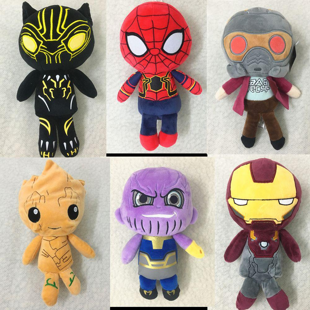 1pcs Avengers 3 Infinity War Iron Man/Spiderman/Thanos/Black Panther Action Figure Toy Plush Stuffed Dolls Kids Children Gifts