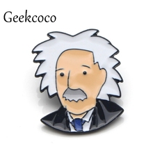 Albert Einstein Brooches for men women Pride Zinc Alloy Enamel Pins medal insignia For backpack clothes decoration Badges J0088
