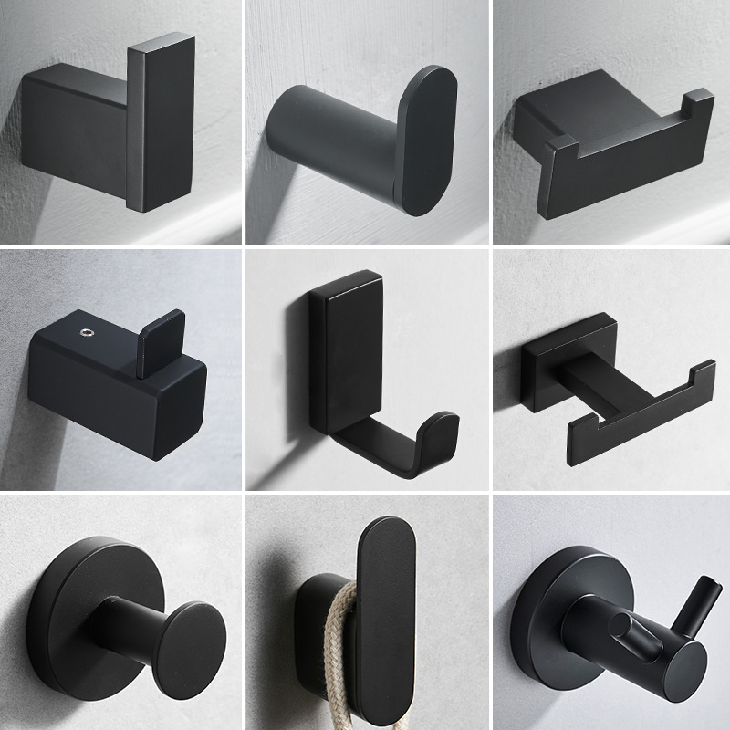 Black 304 Stainless Steel Hanger Towel & Coat & Robe Hook Bathroom Hook Wall Mount door rear hook for cap,coat,ClothesBlack 304 Stainless Steel Hanger Towel & Coat & Robe Hook Bathroom Hook Wall Mount door rear hook for cap,coat,Clothes