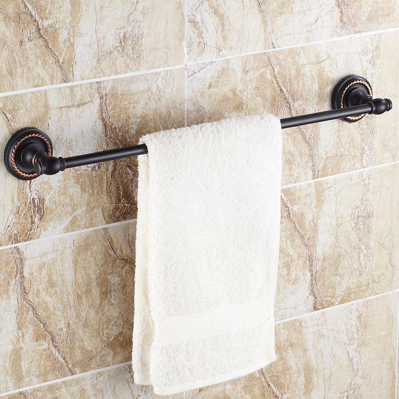 Black Bronze Towel Bar Antique European Style Single Towel Bar Luxury Bathroom Copper Hardware Accessories 60cm towel bar k37355afd