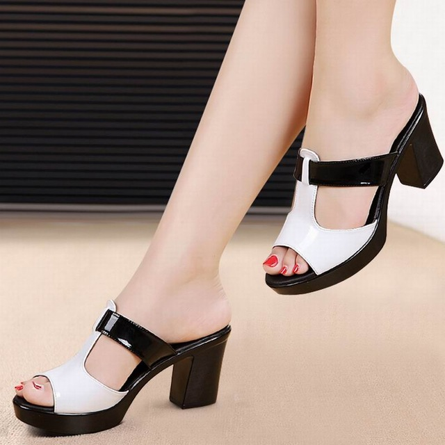 Fashionable women s sandals comfortable leather sole high heels women s  casual shoes summer platform sandals plus size 4-11