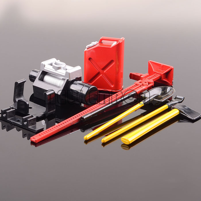 Red Winch Shovel Oiler Jack Hatchet FOR RC 1:10 SCX10 CC01 AX10 Rock Crawler