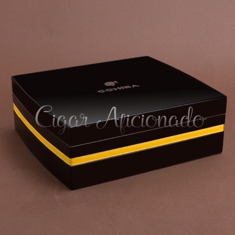 Accesorios de Calidad Negro Cedro Piano Cubano COHIBA Humidor de puros Caja De Almacenamiento W Higrómetro Humidifie Cenicero Juego de Cortadores