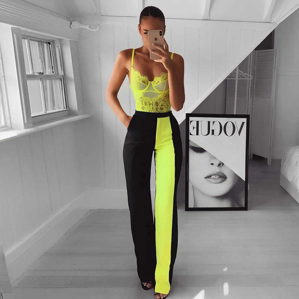Cryptographic Neon Green Eyelashes Lace Sheer Bodysuit Summer Sexy Backless Jumpsuit Mesh Hollow Out Teddies Women Tops Slim