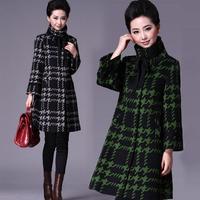 new plus size 5xl long woolen jacket women coat loose Houndstooth wool coat female