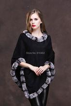 /Lady's Genuine  Real Cashmere Genuine Rex rabbit  Fur Coat Cloak Poncho/shawl//cape Wraps/ black