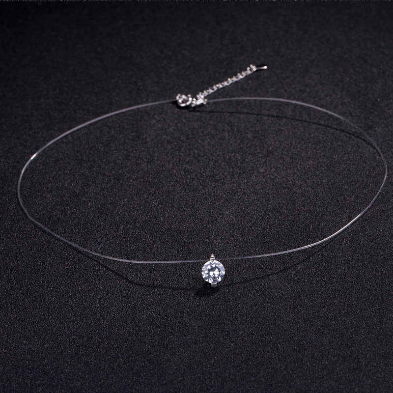 ZCHLGR Gift 6MM Silver Zircon Chokers Necklaces Transparent Fishing Line Simple Pendant Necklace Jewelry For Women