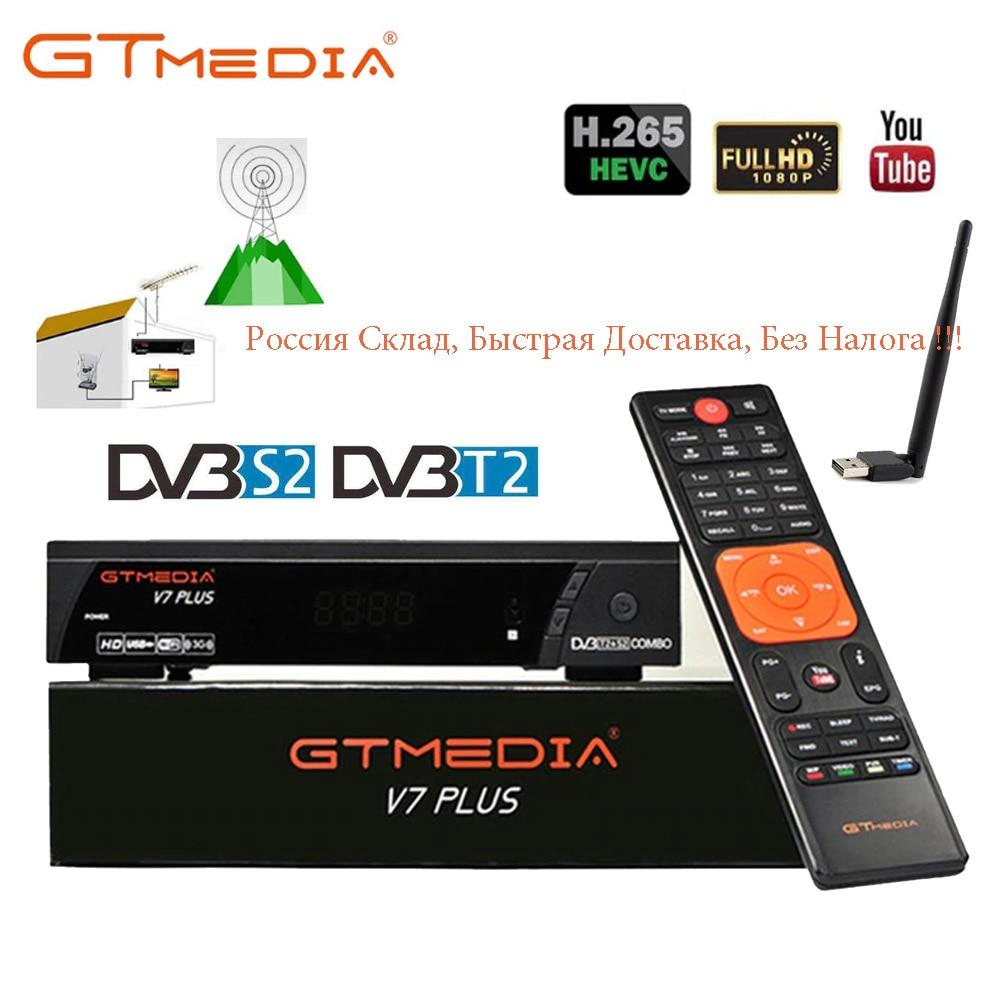 100% Original GTMEDIA V7 PLUS DVB-S2 DVB-T2 Satellite TV Combo Receiver H.265+Spain Italy Poland Cccam 5 Cline PK V7S HD Decoder