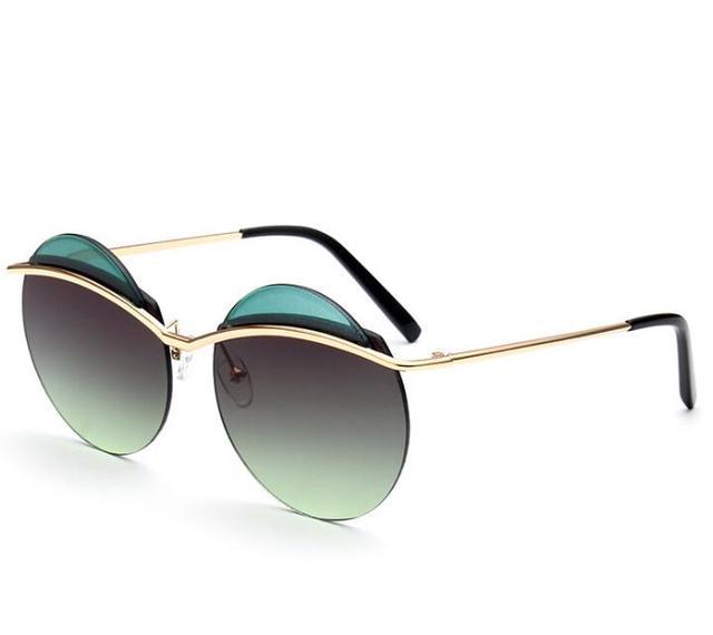 Nova Moda Rodada Frame Da Liga de Óculos de Sol Espelhado Mulheres Olho de  Gato Óculos 71a676e05d