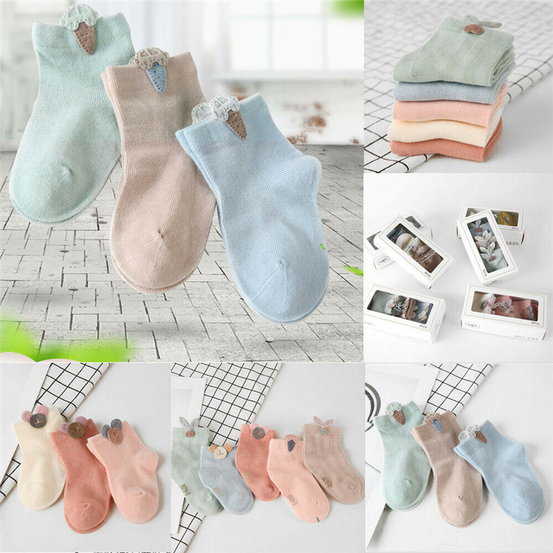 PUDCOCO 1Pair Cute Summer Crystal Socks Kids Baby Girls Breathable Soft Cotton Socks Fruit Printed Ultra-thin Frilly Ankle Socks