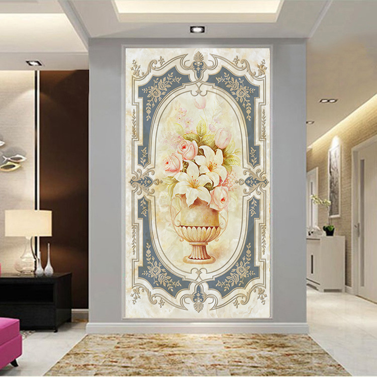 Custom 3D photo wallpaper Retro flowers wallpaper entrance hallway wallpaper mural living room backdrop mural papel de parede custom photo wallpaper luxury 3d stereoscopic vase entrance corridor aisle backdrop wall decoration painting mural de parede 3d