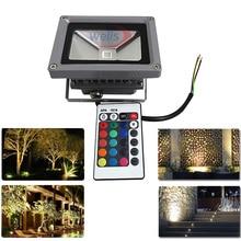10W LED projektör beyaz/sıcak beyaz/kırmızı/yeşil/mavi/RGB açık su geçirmez IP65 renkli spot + 24key IR uzaktan kumanda AC 85 265V