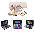 12pcs Powder Eyeliner Blusher Makeup Brush with Bag + 88 Colors Shimmer Matte High Gloss Eyeshadow Powder Palette Cosmetic Kits