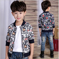 2016 Brand Boy Autumn Spring Vintage Print Letter Zipper Coat Kid School Fashion Outwear High Quality Cotton Jacket Kid Clothes