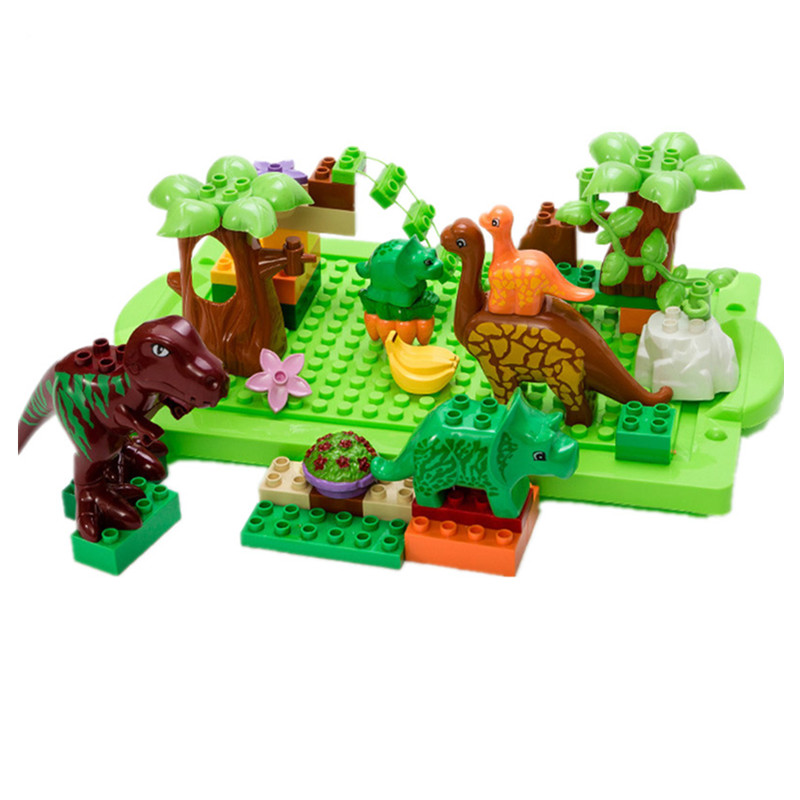New Large particles Animal dinosaur World park Model toys 40Pcs/Lot Dino Education Toys For Kids Compatible with Legoingly Duplo lego education 9689 простые механизмы