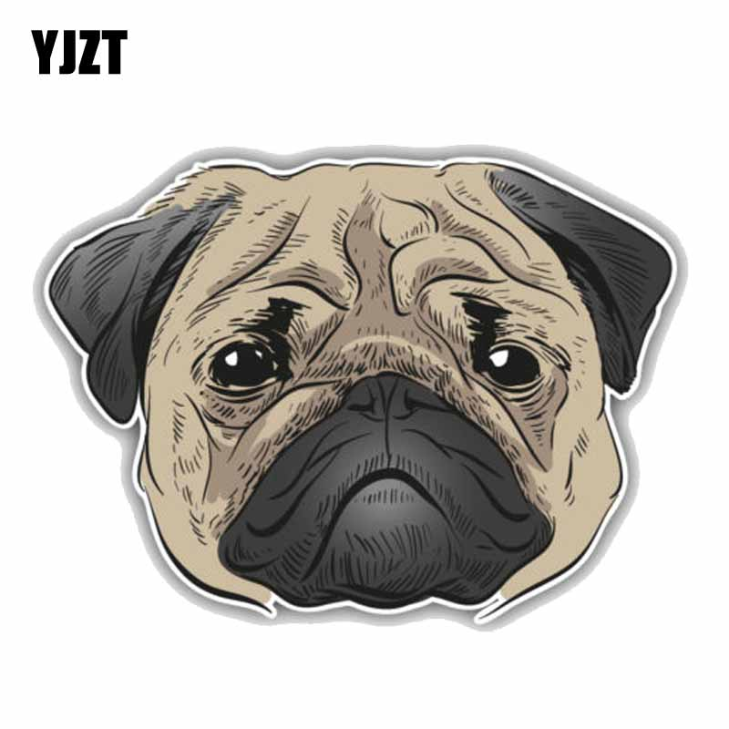 "Pug Sticker 4x4/"" Black"