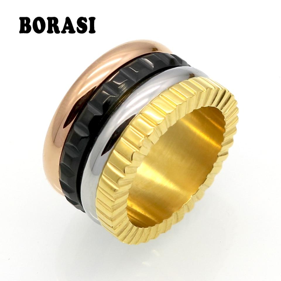 Mannen vrouwen trouwring titanium stalen ringen bague beroemde merk sieraden groothandel draaibare mode roestvrij stalen keramische ring