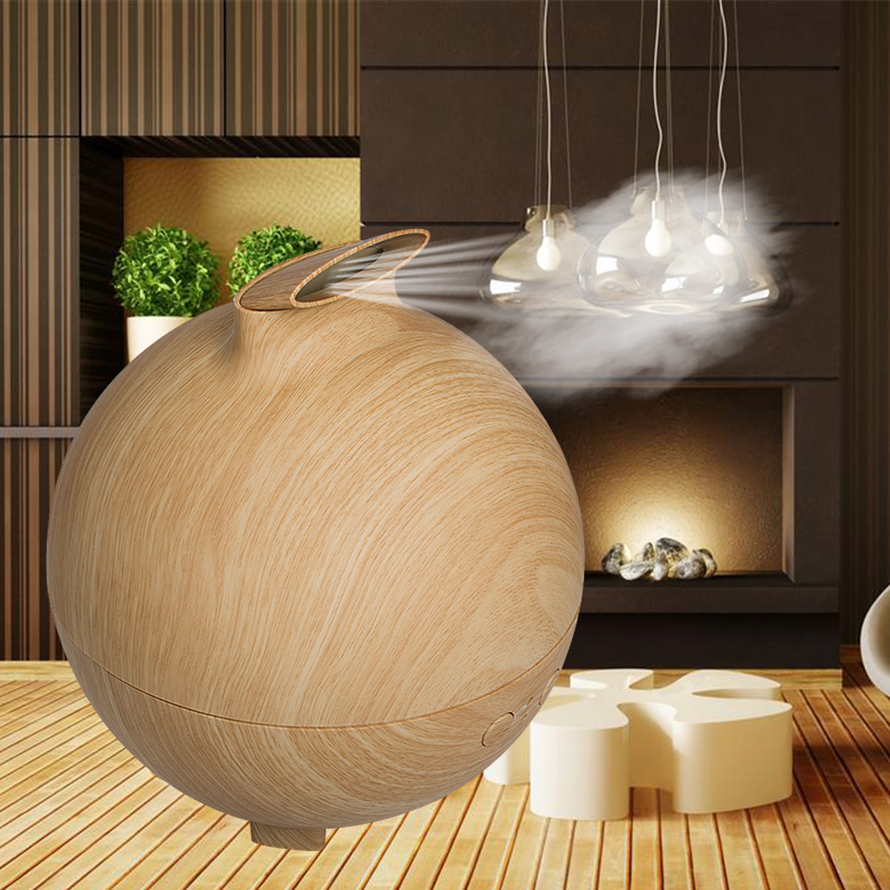 600ml Aroma Essential Oil Diffuser Ultrasonic Air Humidifier with Wood Grain water -load protection electric aroma