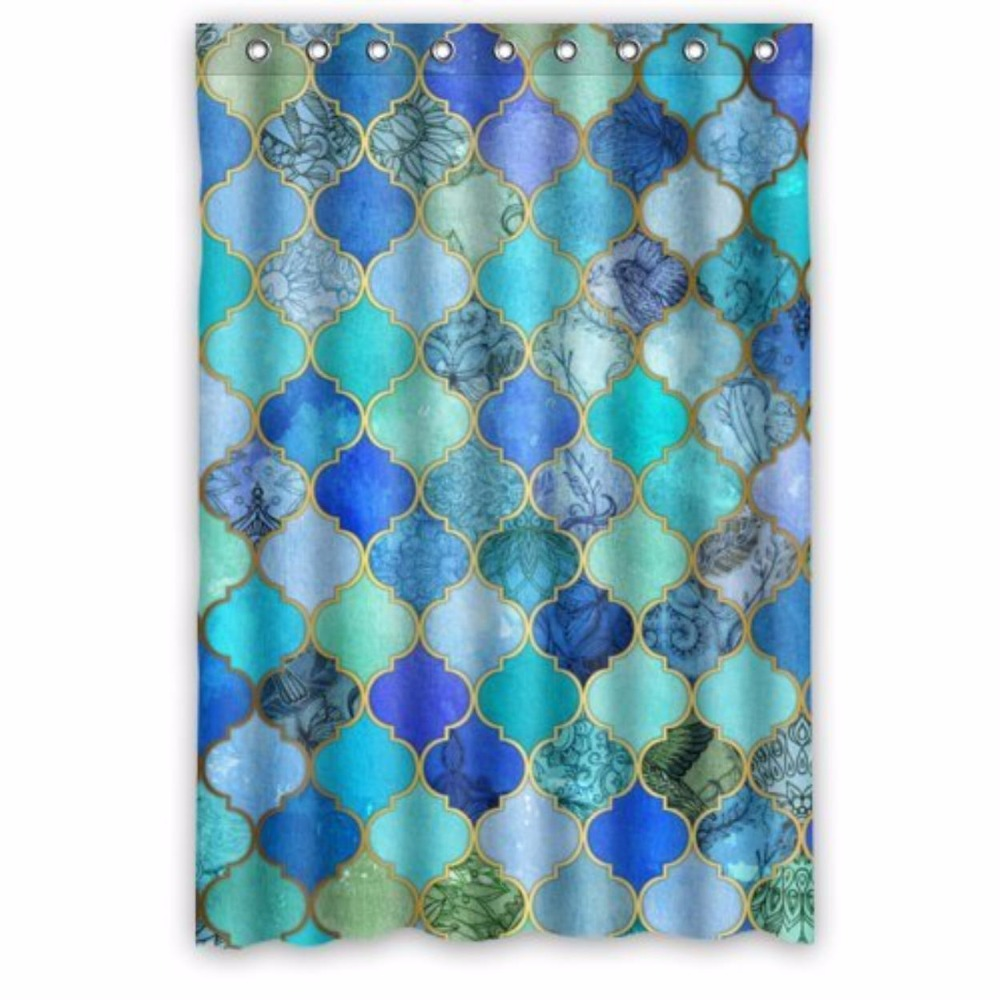 Moroccan bathroom decor - Aqua Moroccan Trellis Floral Custom Shower Curtain 100 Polyester Waterproof Bathroom Decor Polyester Shower Curtain