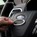 Car Styling Steering Wheel ABS Chrome Trim Cover Logo Ring for Ford Fiesta Ecosport KUGA New Mondeo Escort Auto Accessories