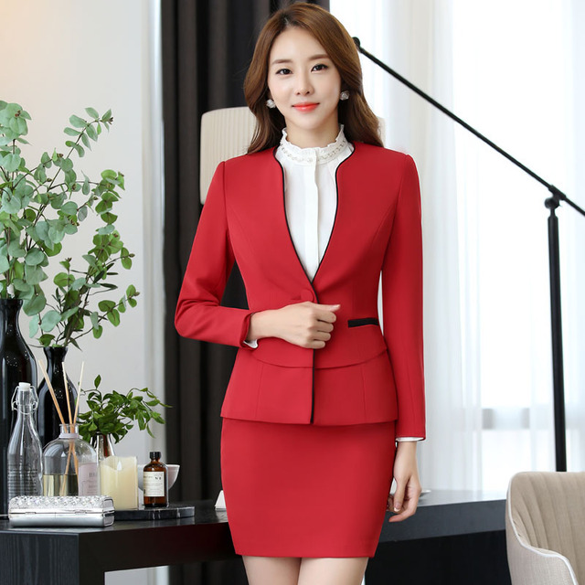 75bcdb9b652b56 Novelty Red Formal OL Styles Slim Fashion Professional Blazer Coat Ladies Office  Jackets Long Sleeve Outwear Women Tops Blaser