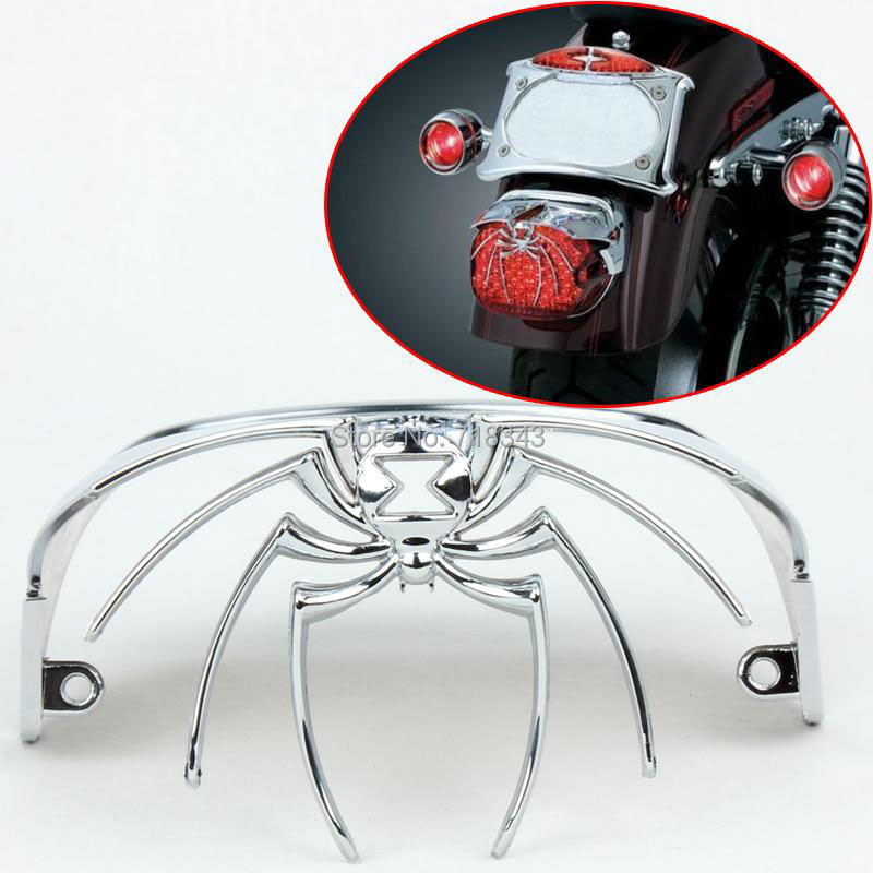 ФОТО Motorcycle Chroming Spider Widow Rear Tail Light Cover Fit for 1973-2012 Harley Davidson Models without bobbed rear fenders