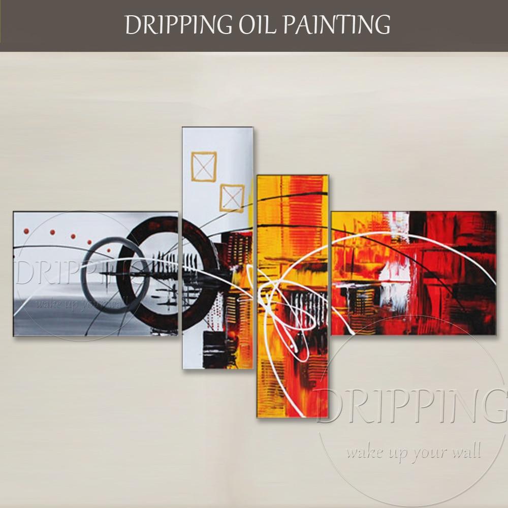 Dipinta A mano di Alta Qualità Astratta Pittura Ad Olio su Tela di Canapa 4 Pannelli Pittura A Olio Astratta Pittura A Olio del Gruppo per il Sofà Decorazione della parete