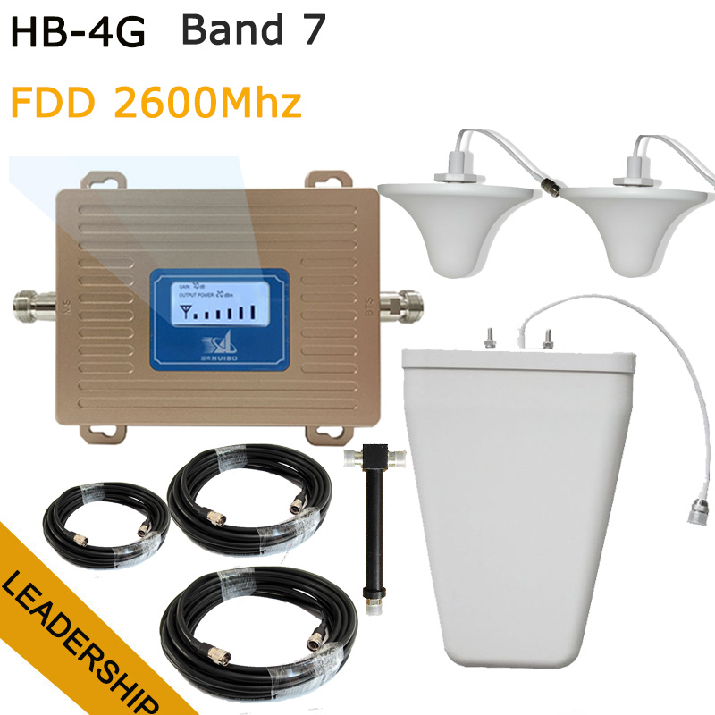 Work 600square Meters 4G FDD 2600mhz Band7 Cell Phone Booster Mobile Phone Signal Repeater With LCD Display Indoor Panel Antenna