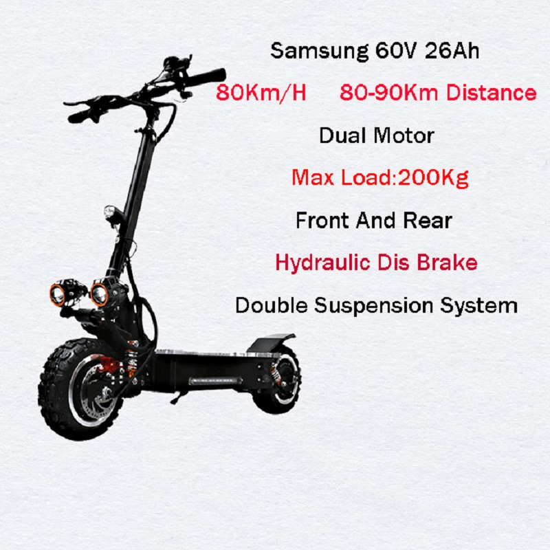 <font><b>Samsung</b></font> <font><b>60V</b></font> 3200W Powerful Electric Scooter 80KM/H Off Road Skateboard Longboard Adult Electric Scooter Foldable E Scooter Ebike image