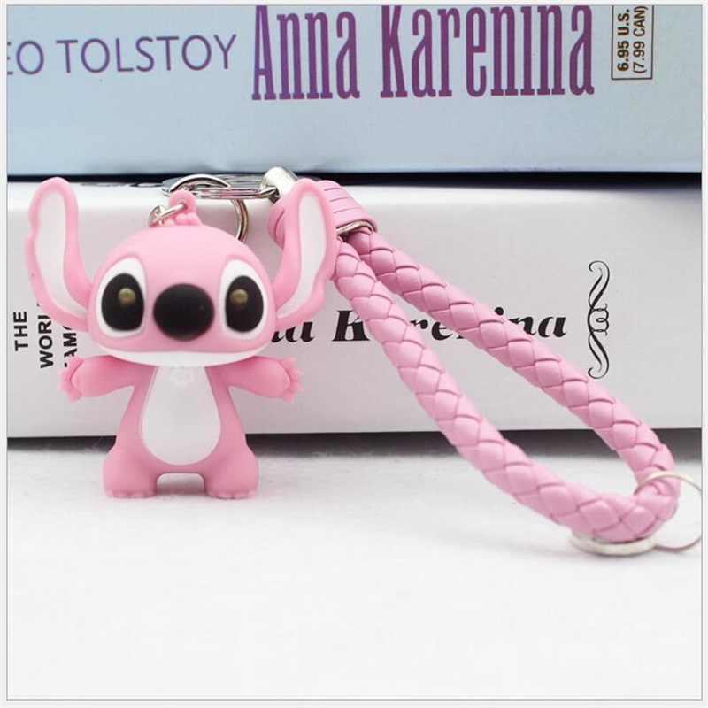 Bonito Dos Desenhos Animados do Ponto Boneca Toy Action Figure Keychain Brinquedo da Criança Animal Sinos Corda de Couro Chave Anel Bijuterias Acessórios Presente