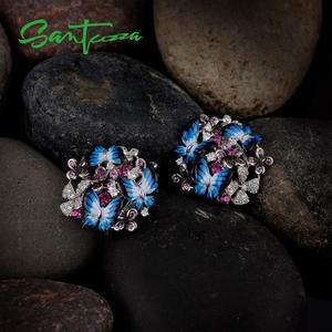Image 4 - SANTUZZA gümüş küpe kadınlar için 925 ayar gümüş küpe kübik zirkonya narin mavi kelebek moda takı emaye