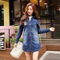 Джинсовой куртке женщина длинный участок Весной и Осенью новых Корейских Женщин Тонкая талия была тонкой BF ветровка куртка прилив