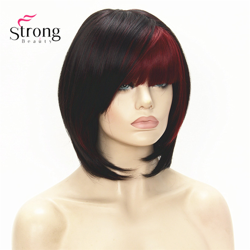 Short Straight Dark Brown with Red Bob, Side Swept Bangs Synthetic Wig