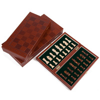 Leather chess folding wooden chess pieces go board game set