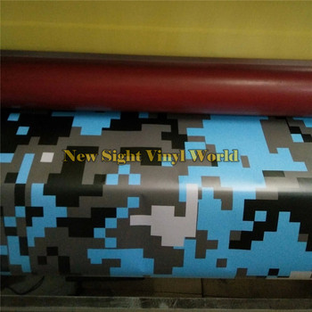 Digital Baby Blue Camo Vinyl Car Wrap Styling Foil Arctic Pixel Camouflage Vinyl Car Sticker Size:1.52x30m/Roll