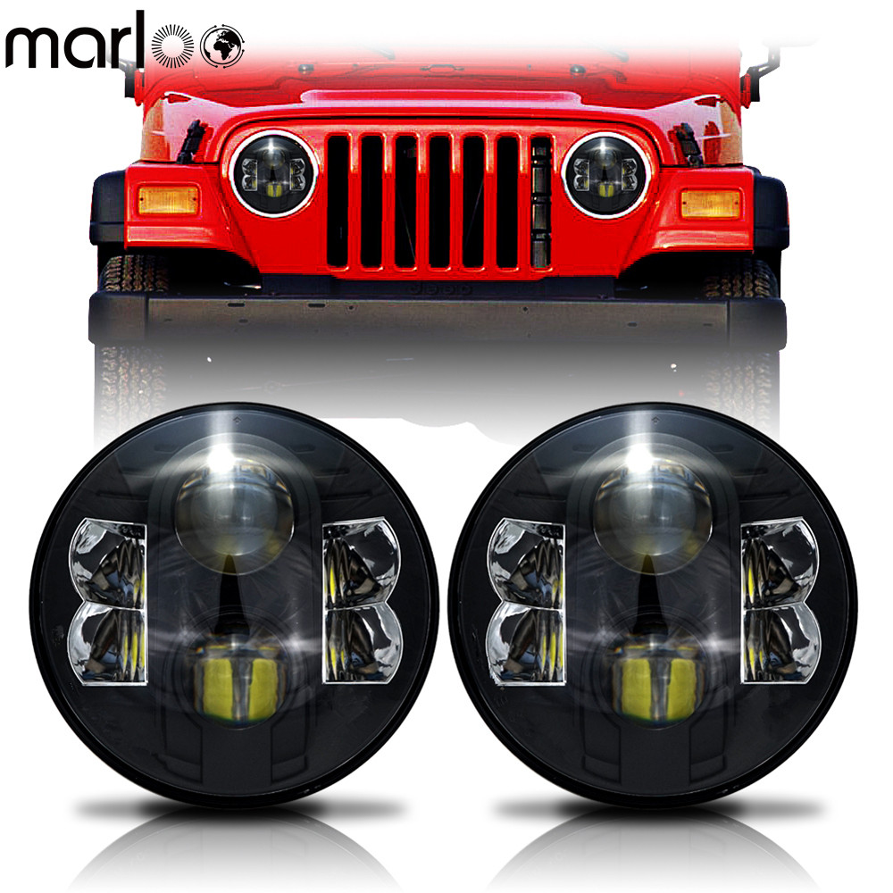 Marloo 2X 7 Inch Round Projector 80W LED Headlights For Jeep Wrangler JK TJ LJ Unlimited Sport Sahara Rubicon Harley Motorcycle lantsun j039 black grab bar front rear grab handle for jeep wrangler jk sahara sport rubicon x