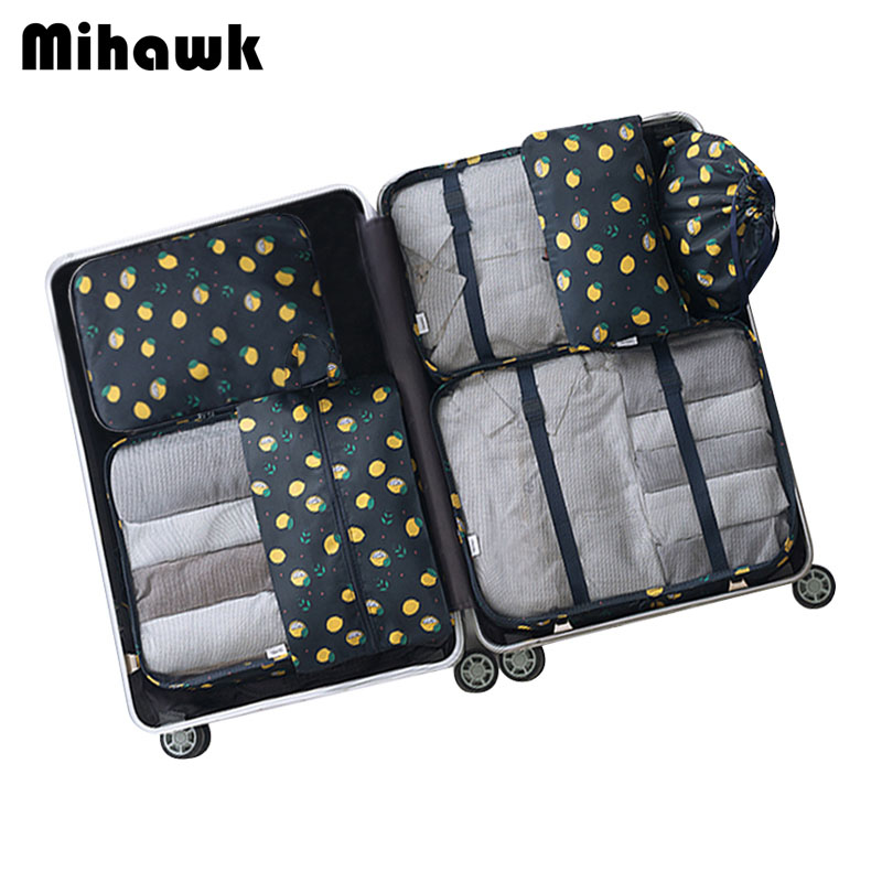 Mihawk 7Pcs/set Fashion Portable Travel Bag Lemon Pattern Storage Luggage Multipurpose Luggage Accessories Package Organizer