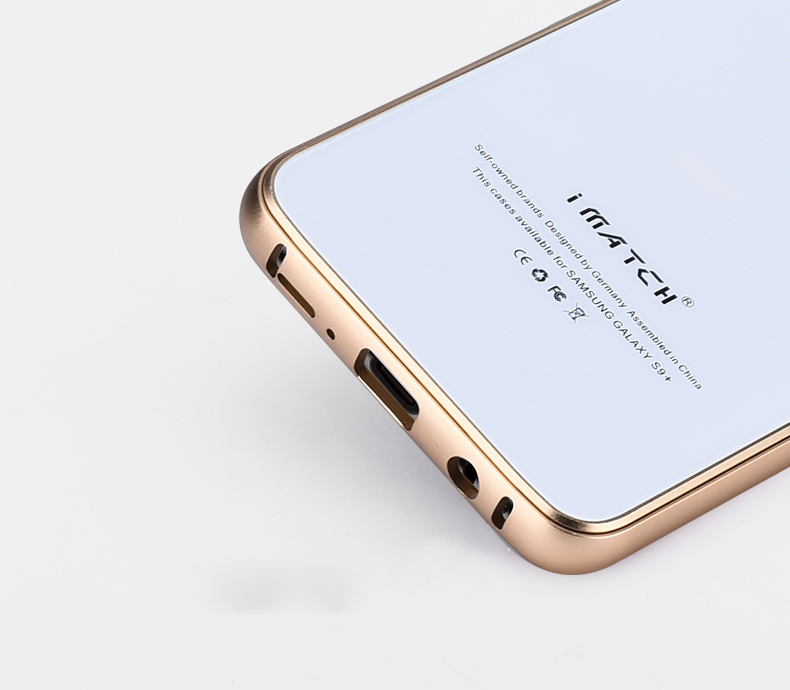 iMatch Aviation Aluminum Alloy Metal Bumper Tempered Glass Back Cover Case for Samsung Galaxy S9 & Samsung Galaxy S9 Plus