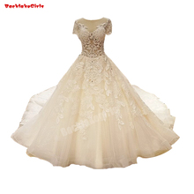 6351 Long Tail Ball Gown Wedding Dress Heavy Bridal Gown