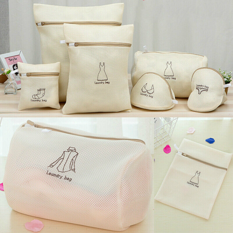 1*Mesh Laundry Bags for Washing Machine/Bra Underwear underpants Zip Free shipping Laundry Bag(China)
