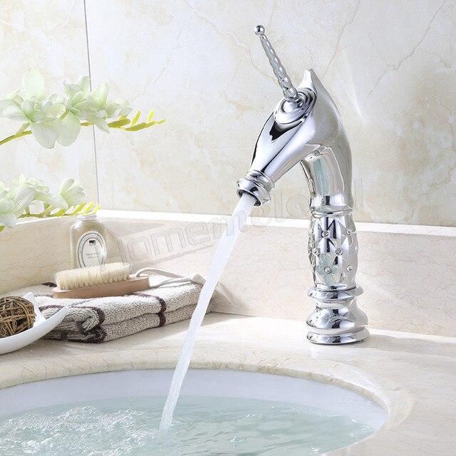 Top Chrom Einhorn Wasserhahn Waschbecken Bad Mischbatterie WY02