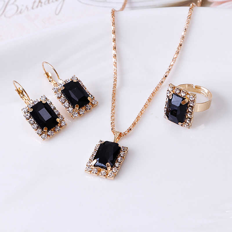 1Set Crystal Necklace Earrings Ring Set For Women Jewelry Sets Christmas Gifts