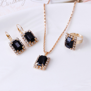 1Set Crystal Necklace Earrings